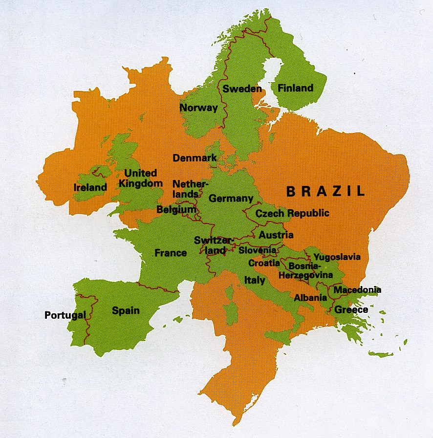 brazil_size compared to europe