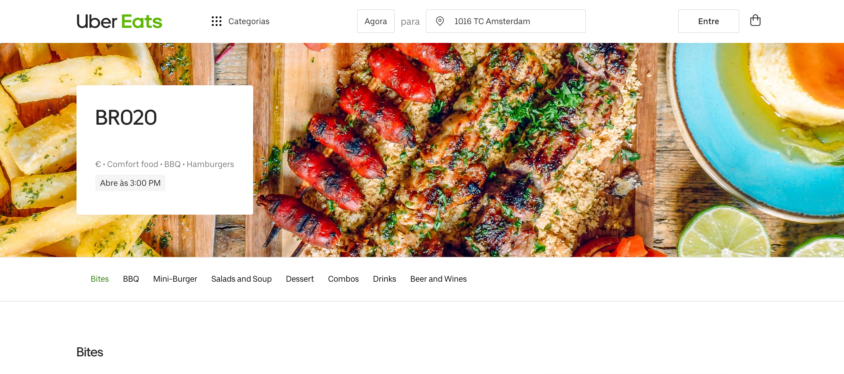 Uber Eats page